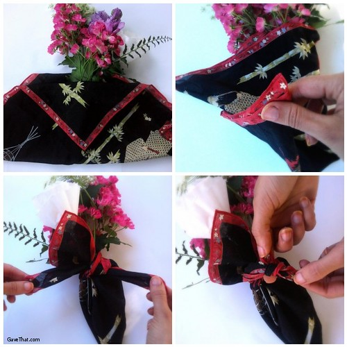 Furoshiki Wrapping Flowers Step by Step by Gift Wrapping Blog Gave That