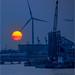 New Jersey Sunset with Wind Turbine by Bob Jagendorf