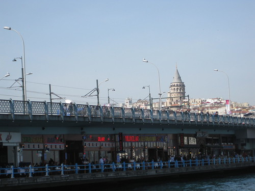 Galata Bridge with the Galata Tower in the background