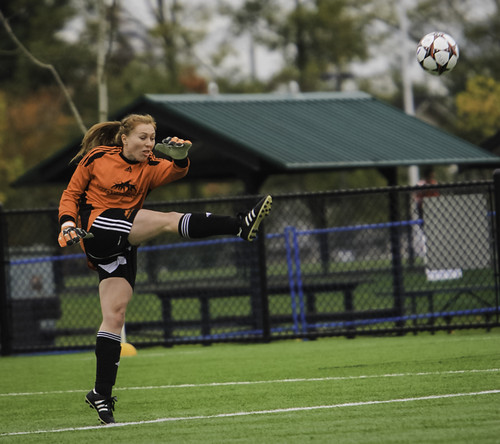 Emily Edmundson kicks ball in CCAA bronze (Nov 9, 2013 CCAA)