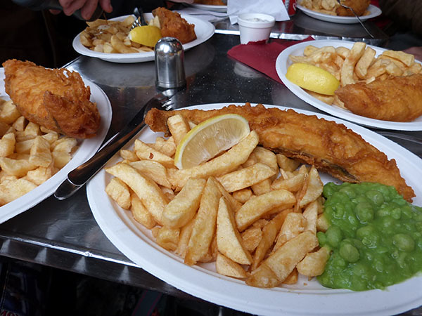 fish and chips and mushy peas