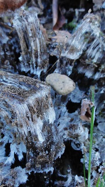 Icefalls and pebble closeup.