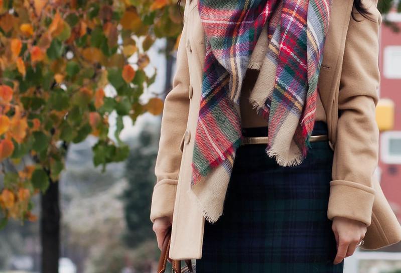 cute & little blog   mixing prints   plaid on plaid   zara checkered scarf, camel wool coat, plaid pencil skirt, louis vuitton speedy 25, outfit