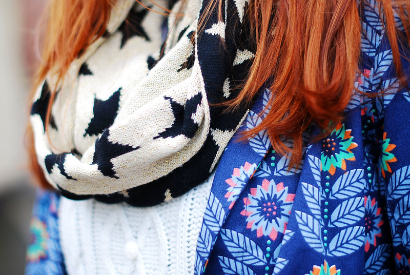 Floral raincoat, star patterned snood