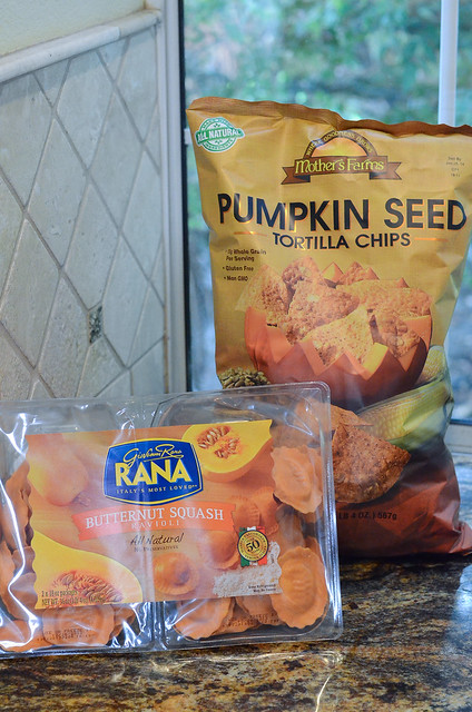 A bag of Pumpkin Seed Tortilla Chips and a container of Rana Butternut Squash Ravioli.