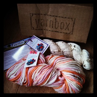 Really not loving my first #yarnbox at all. #disappointed Not a fan of the white silk with sequins at all and the handspun is pretty blah color wise and only either 80 or 100 yards (label states both) #knitting #yarn