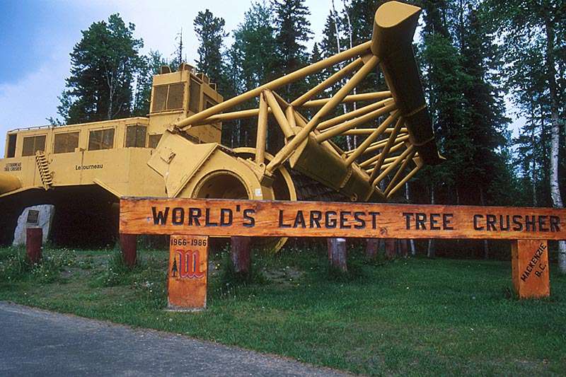 World's Largest Tree Crusher, Mackenzie, Alaska Highway 97, Northern British Columbia, Canada
