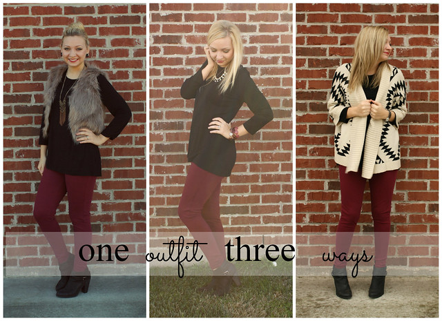 one outfit three ways, maroon pants, black booties, aztec sweater, fur vest