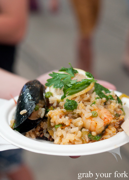 Paella with chorizo, mussels and prawns by Bird Cow Fish at the Sunday Marketplace, Rootstock Sydney 2014