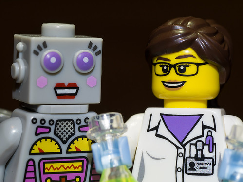 Evil scientist and robot