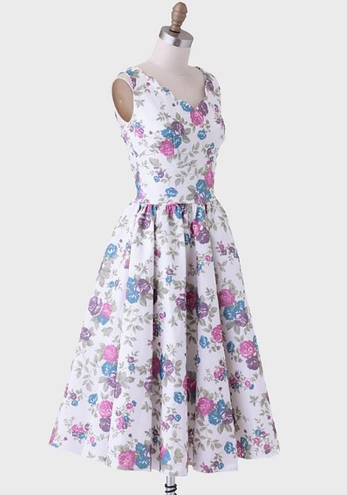 ruche Brenda Dress In Plum Floral By Queen Of Heartz