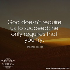 God Doesn't Require Us To Succeed; He Only Requires That You Try. (Mother Teresa)