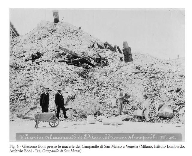 VENEZIA ARCHITETTURA e BENI CULTURALI: Il crollo del campanile di San Marco e  ricostruzione (1902-12). Foto: Prof. Arch. Giacomo Boni, Campanile di San Marco (01/08/1902).