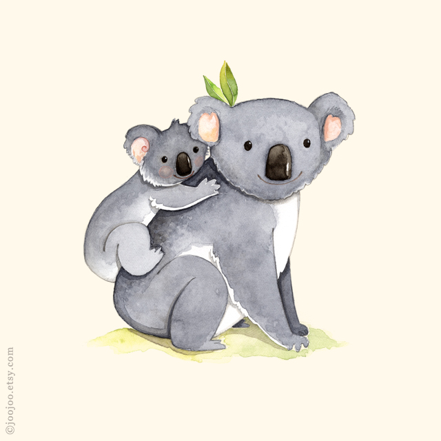 Koala watercolor painting