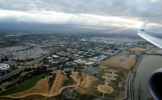 Silicon Valley, rainfall, South Bay, from above, Alaska Airlines jet, California, USA