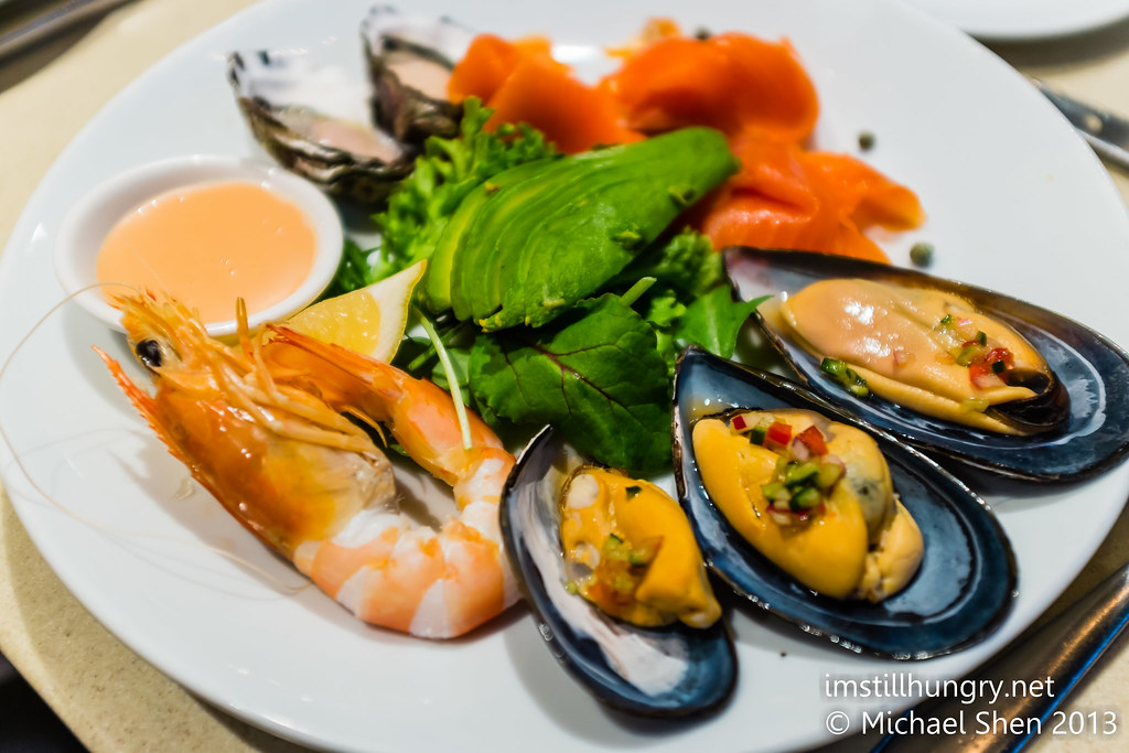 Cold seafood plate - fresh king prawns, sydney rock oysters, Tasmanian smoked salmon & marinated mussels Nick's Bar & Grill