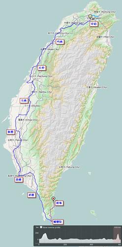 2011.10.09-16.單車環島.路線軌跡圖