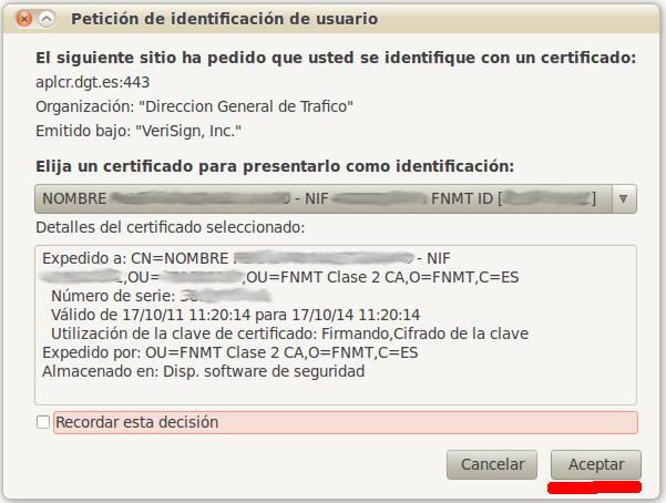 Elegimos nuestro certificado de usuario