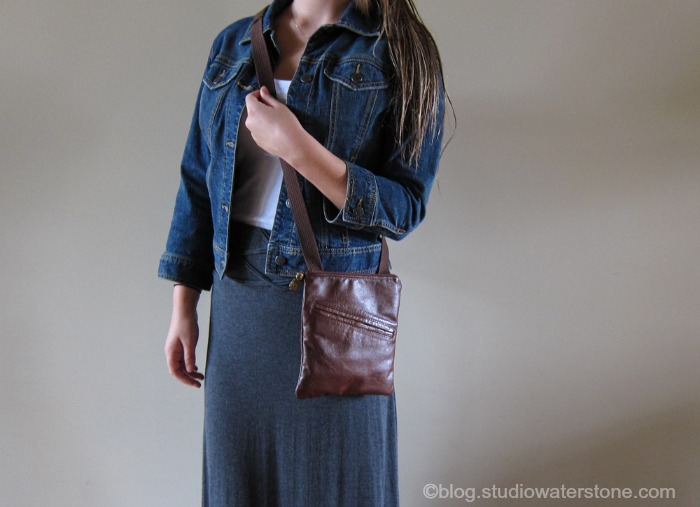 recycled leather cross body handbag