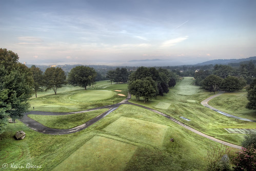 morning trees sky usa mountain green fog clouds golf nc contrail asheville horizon northcarolina bunker golfcourse windowview hdr groveparkinn teebox