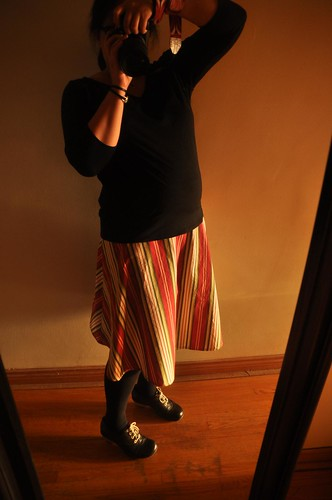 stripe skirt modeled