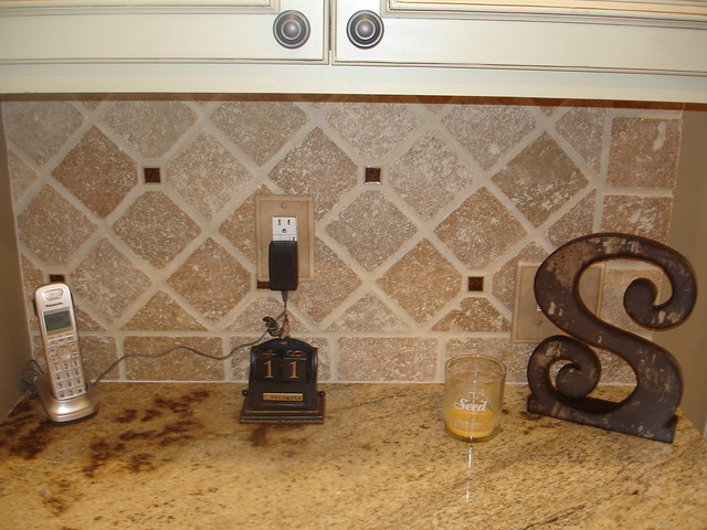 Tumbled Stone and Glass Backsplash | Flickr - Photo Sharing!