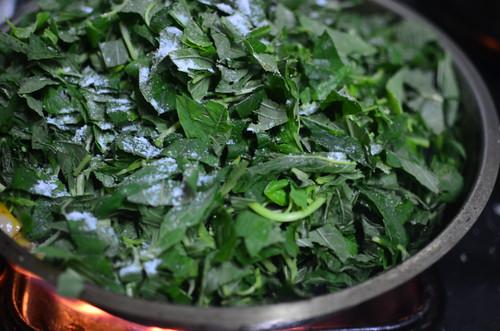 Green Amaranth in pan