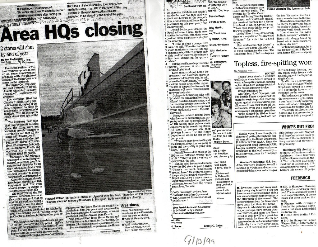 """Area HQs Closing"" Daily Press, 9/10/1999"