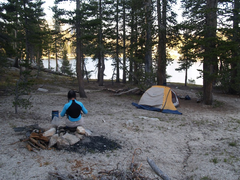Preparing dinner in our campsite on the western shore of Miller Lake