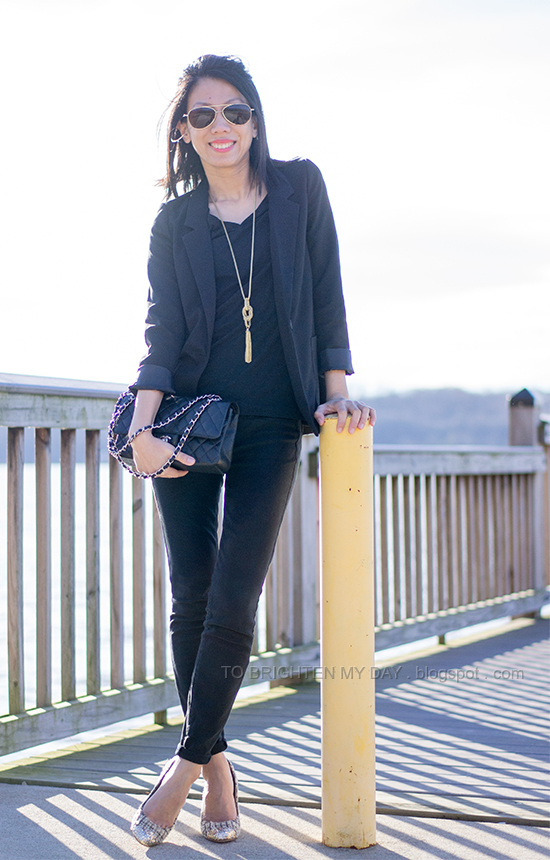 black blazer, black tee, tassel necklace, tweed and glitter pumps