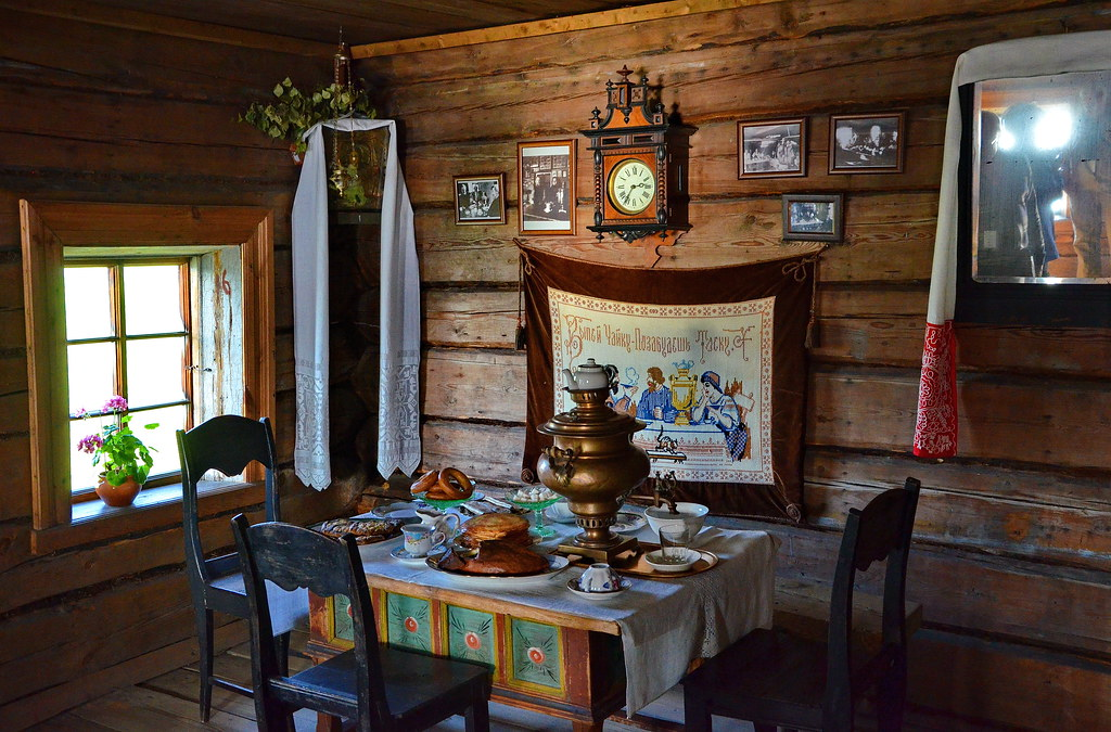 Interior of the house of peasant Oshevnev, Kizhi Island, K ...