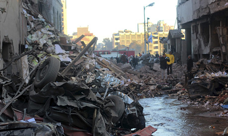 Mansoura damage from car bomb explosion in the Nile Delta region of Egypt. At least a dozen people were killed. by Pan-African News Wire File Photos