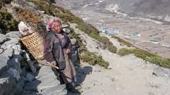 Starsza kobieta nepalska w pobliżu Dingboche