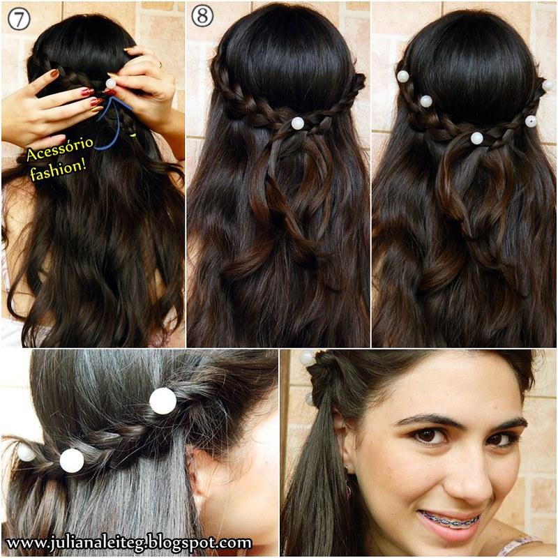penteado romântico com pérolas feita de grampo acessório fashion juliana leite blog trança passo a passo tutorial colocando as perolas