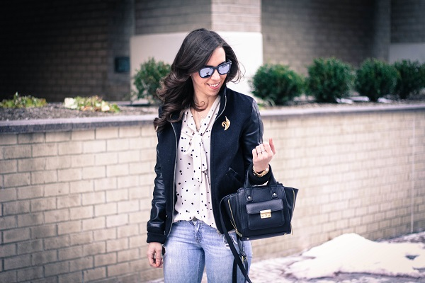va darling. dc fashion blogger. virginia fashion blogger. faux leather sleeve bomber jacket. destroyed denim. polka dot tights. reflective ray-ban sunglasses. cold casual outfit. 1
