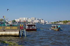 Chao Phraya river seen from the pier at Wat Arun, the temple of dawn, in Bangkok, Thailand