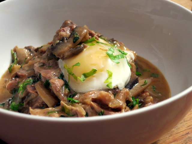 Lamb and mushroom hash, poached egg