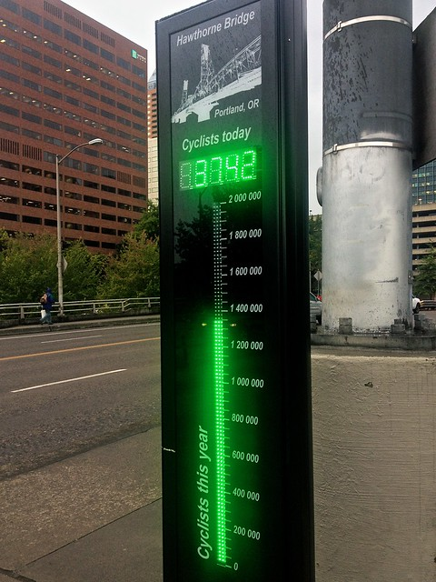 Bike Counter on the Hawthorne Bridge