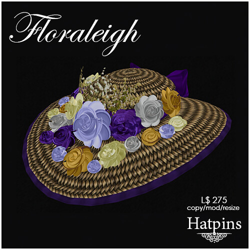 Hatpins - Floraleigh Straw Hat - Violet Bouquet
