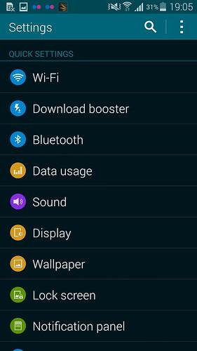 Settings ของ Samsung Galaxy S5 แบบ List View