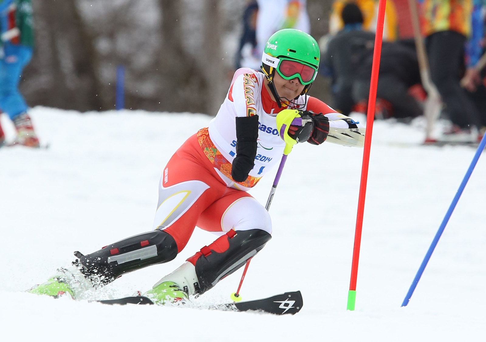 Kirk Schornstein maneouvres the slalom course at the 2014 Paralympic Winter Games in Sochi, RUS