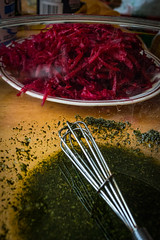 Raw shredded beets and herb oil