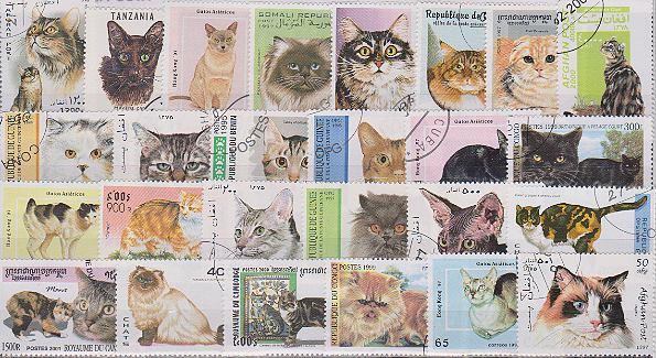 Známky - 50 rôznych, mačky