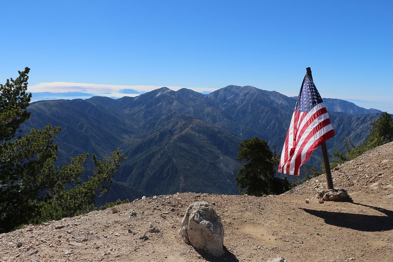 American Flag on the summit of Mount Baden-Powell, looking southeast toward Mount Baldy.