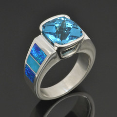 Lab created opal ring with turquoise and topaz