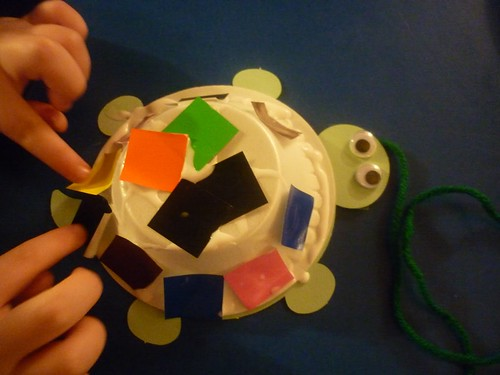 Collaging a Turtle Shell (Photo from The Work Plan)