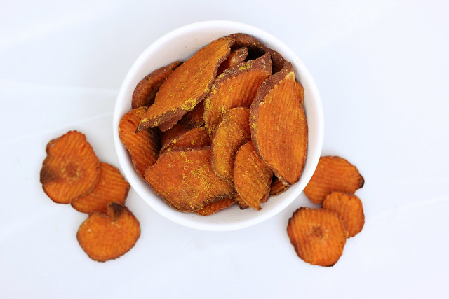 Curried Sweet Potato Chips - Gluten-free + Vegan