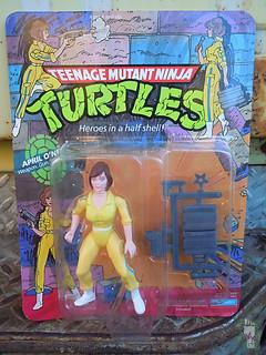 TEENAGE MUTANT NINJA TURTLES :: April O'Neil { Blue stripe on original '10-back' card } i (( 1988 ))