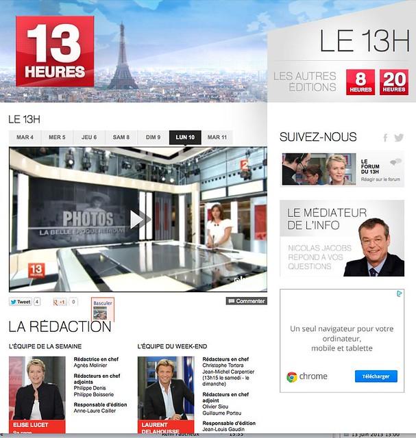 Les collections de la SFP au JT de France 2le13H du 10 juin 2013