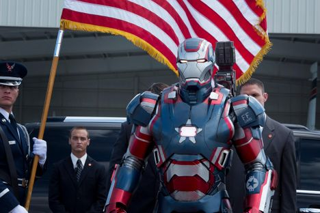 Iron Man, with an American flag